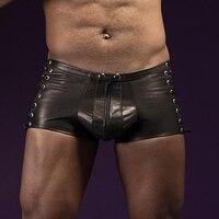 Faux Couro Mens Vestuário Exótico Homens Boxers Shorts Roupa Interior Lingerie Transparente Calças Super Sexy Wetlook Preto Boxer