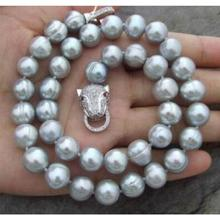 925 silver real genuine natural Leopard Clasp AAA 9-10MM NATURAL SOUTH SEA BAROQUE GRAY PEARL NECKLACE 18inch wholesale