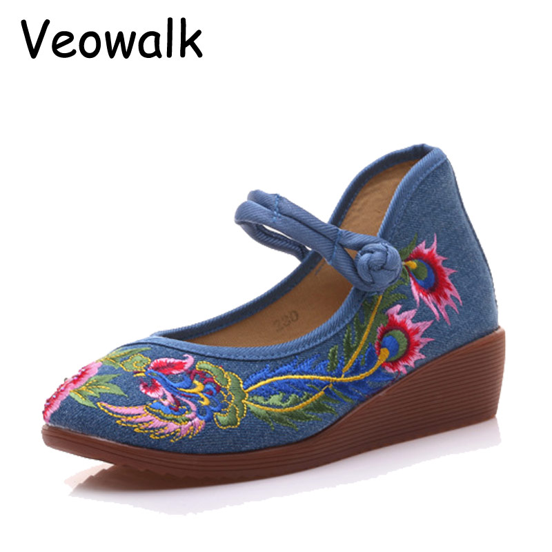 Veowalk Phoenix Embroidered Women Canvas Wedge Platform Shoes Mid Top Ladies Casual Mary Janes Low Heels Pumps Zapatos Mujer vintage women pumps flowers embroidered ankle buckles canvas platforms ladies soft casual old beijing shoes zapatos mujer