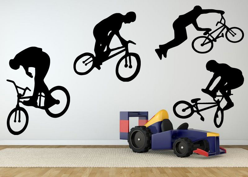 Boy Giant Bmx Bike Bicycle Wall Art Sticker Decal Home DIY ...