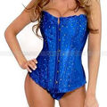 Blue Satin Rhinestones Corset Lace up Boned Overbust Bustier Sexy Party Costume Plus Size S-6XL