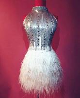 Thời trang Rhinestone Sequins Đà Điểu Feather Dress Phụ Nữ Sexy Bạc Bright Đảng Dresses Trang Phục Sân Khấu Nhảy Hộp Đêm Mặc