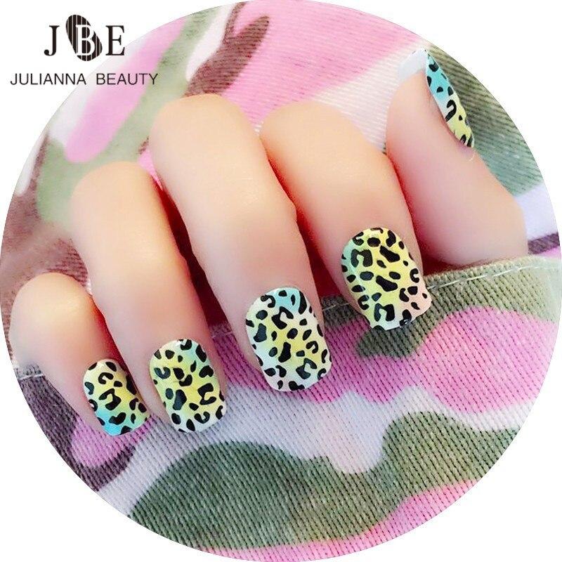 24pcs/set Acrylic Full Cover Nail Tips Leopard Print False