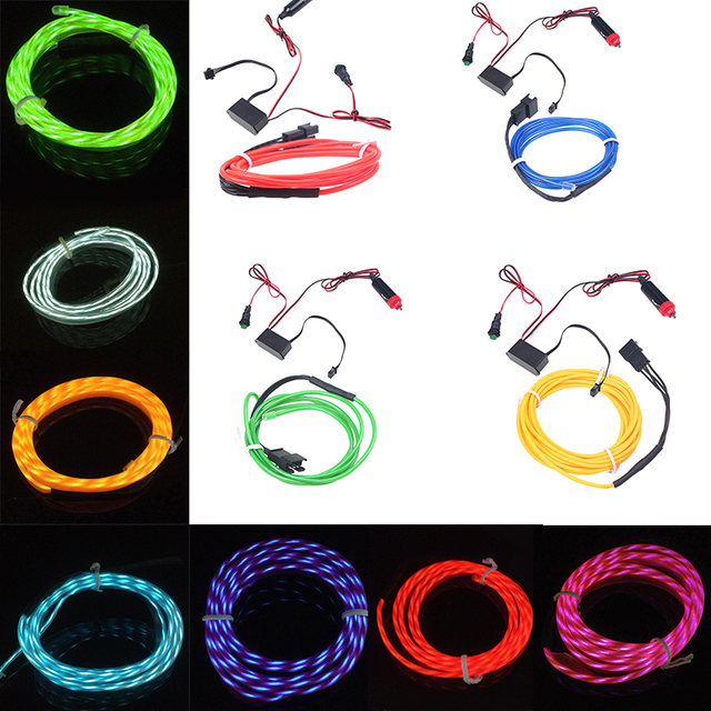 3M LED Flexible Neon Light Glow Chasing EL Wire Rope Tube Strip Car ...