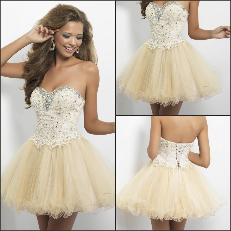 2014 Champagne Color Lace Bodycon Flouncing Short Homecoming ...