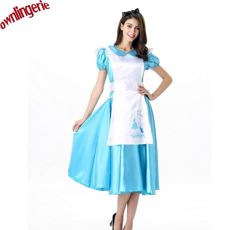 Алиса Косплэй Длинные пятно светло-голубой костюмы горничной Алиса в стране чудес костюм Хэллоуина нарядное платье короткий рукав, белый ф...