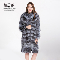 Tatyana Furclub Real Silver Fox Fur Coat Striped Style Fur Coats Natural Fur Collar Jacket Overcoat Winter Coats Women Clothes