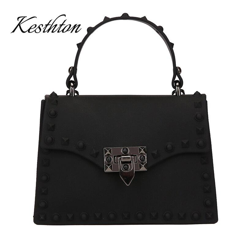PVC hard rivet female handbags 2019 new black red green candy color young girls single shoulder bags brand women crossbody bags