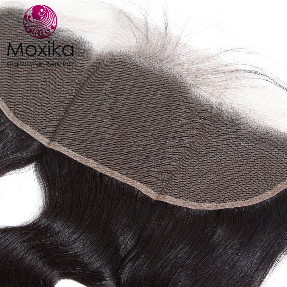 Moxika 100% Peruvian Body Wave Hair With Closure Ear To Ear Lace Frontal Closure one Bundlle 8-20Inch Body wave Natural Color