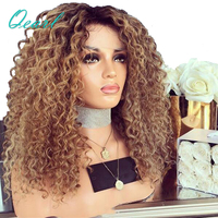 180% 200% Heavy Density Kinky Curly Lace Front Human Hair Wigs For Women Ombre Color Brazilian Remy Hair Lace Wig Qearl Hair