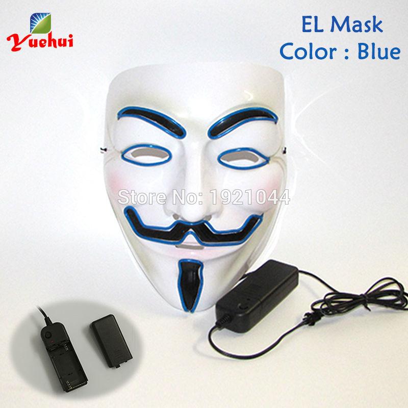 10 COLORES Elección NUEVA Fashion Flashing EL wire Vendetta mask - Para fiestas y celebraciones - foto 2