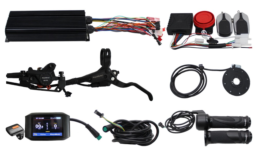 RisunMotor E Bike 36/48/60/72V 2000W 80A Programmable Regenerative Function Controller Kit With Alarm System+750C Display+PAS