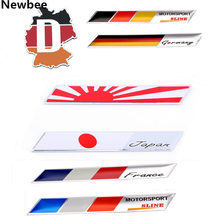 Newbee 3D Aluminium Car Styling Sticker Motorcycle Decal Japan Germany France Italy England USA National Flag Map Emblem Badge(China)