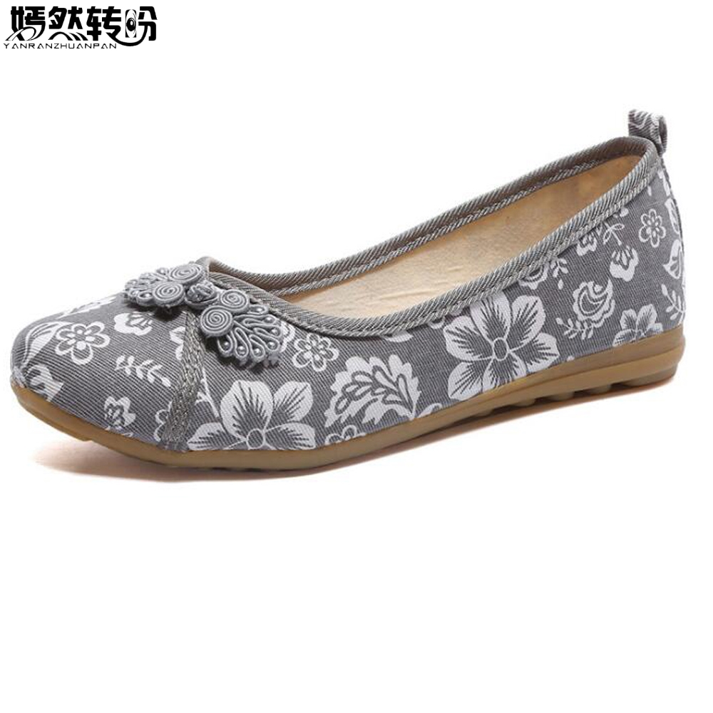2018 Chinese Knot Shoes Women Floral Fabric Ballet Flats Spring Summer Vintage Ladies Comfort Slip On Canvas Ballerinas Shoes недорго, оригинальная цена