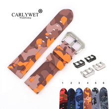 CARLYWET 22 24mm Camo Orange Grey Waterproof Silicone Rubber Replacement Wrist Watch Band Loops Strap For Panerai Luminor
