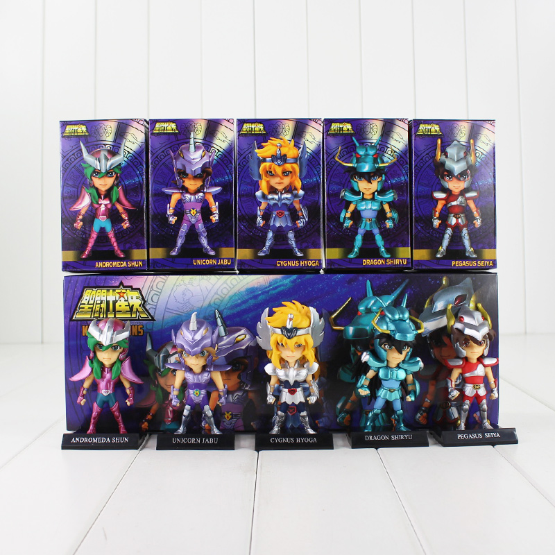 5pcs/lot 10cm Saint Seiya Figure Toy Myth Cloth Shiryu Shun Hyoga Jabu Seiya Mini Model Doll for Children mini block saint seiya bronze saints diamond building blocks shiryu ikki super hyoga shun cartoon toys limited collection value