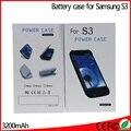 Venda 3200 mah Portátil Banco do Poder Carregador De Bateria Externo Ultra Slim Caso capa Protetora para Galaxy S3 SIII i9300 Freeshipping