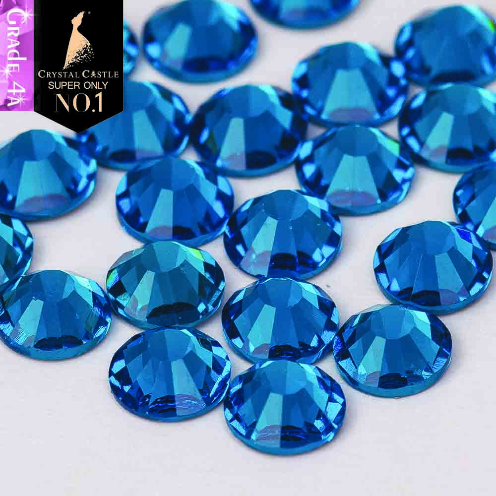 Crystal Castle 4A glass flatback rhinestone Indicolite non hot fix crystal  none glue no hotfix strass 13a0dc7f3cd1