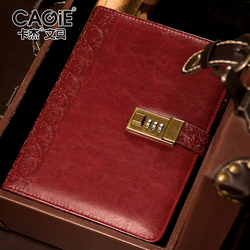CAGIE a5 Binder Notebook Diary with Lock Vintage Leather Journals Line Pages Spiral Palnner Refill Padlock Travelers Notebook