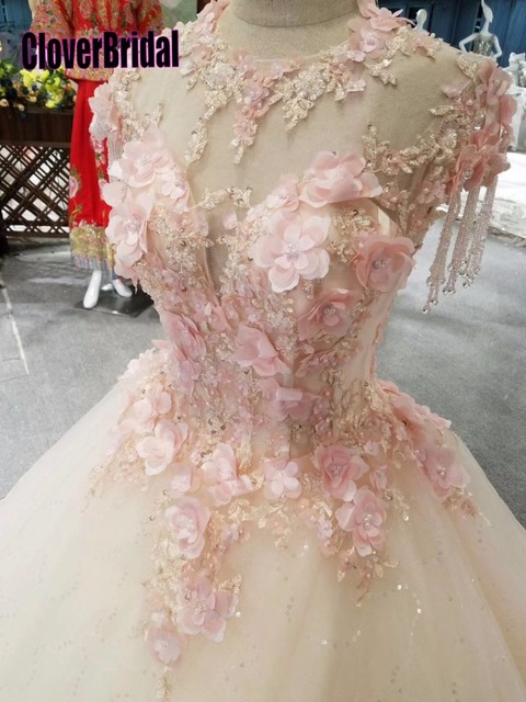 CloverBridal bestsellerem lista alibaba sklep detaliczny suknia dla panny młodej księżniczka piętro długość różowe liście kryształowe frędzle ramiona
