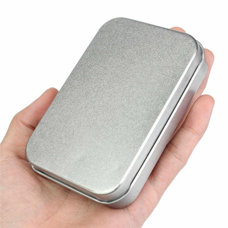 Kit de sobrevivência Estanho Higen Tampa Pequeno Vazio Prata Flip Caso Organizador Caixa De Armazenamento De Metal Para Chaves de Dinheiro Moeda Doces