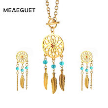 Meaeguet Red Rhinestone Feather Jewelry Sets Women Stainless Steel Bohemian Statement Necklace Earrings Jewelry(China)