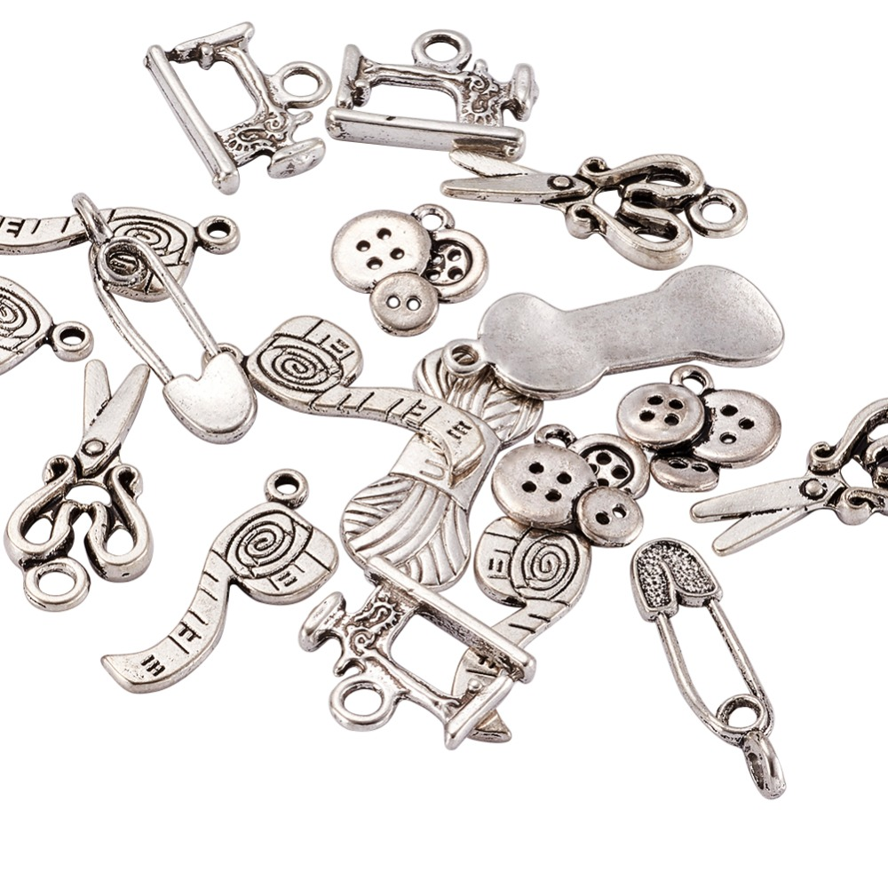 Sewing Knitting Themed Tibetan Style Alloy Pendants, Scissor, Pipe, Safety Pin, Yarn Clew, Button, Sewing Machine Charms, Lead