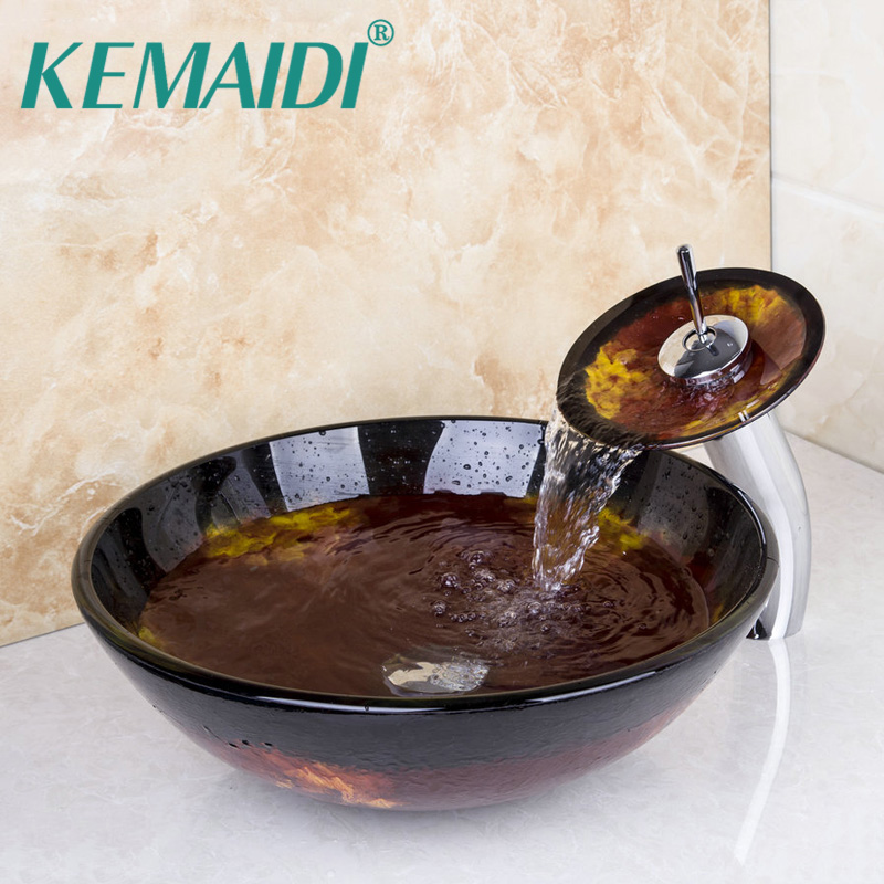 KEMAIDI European Style Vessel Vanity Hand Painting Finish Basin Sink Countertop Bowl Vessel Tempered Glass Basin Faucet Set iarts aha072962 hand painted thick texture of knife painting trees oil painting red 60 x 40cm