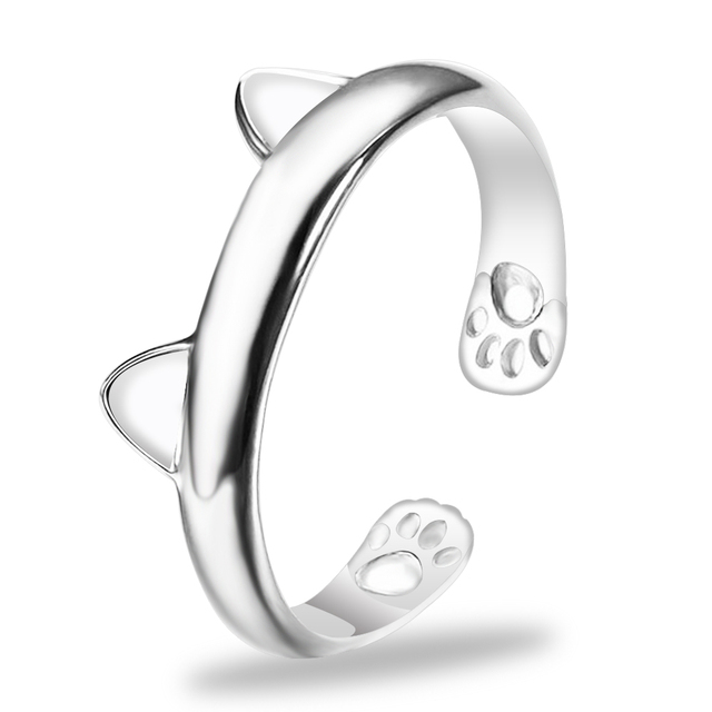 FAMSHIN 1pcs Silver Cat Ear Ring Design Cute Fashion Jewelry Cat Ring For Women