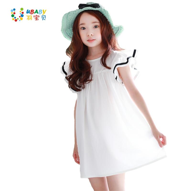 Los niños coreanos del verano vestido 2017 verano nuevo adolescente chica Fly manga playa blanca de los niños se visten