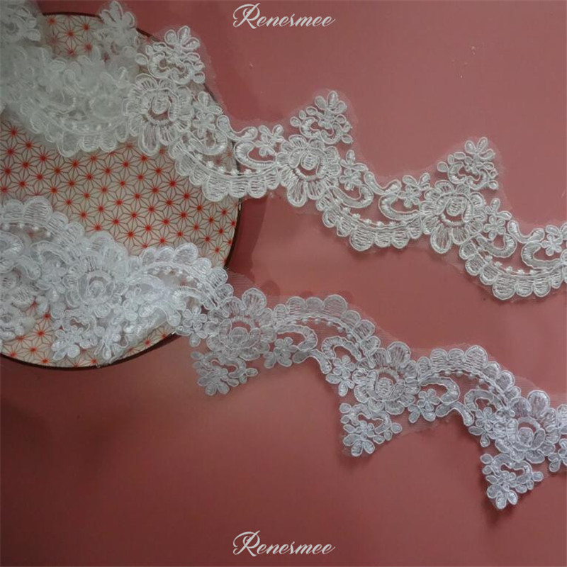 YYCRAFT Pack Of 10y Great Quality Elastic Lace 1.5 trim-ivory