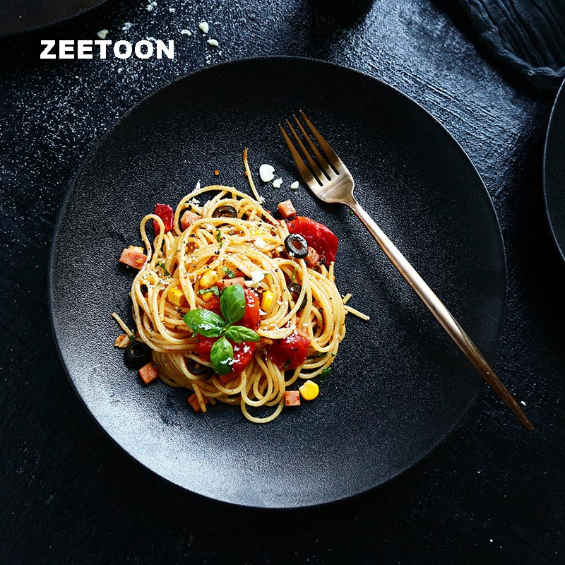 10 Inch Creative Matte Ceramic Plate Black Color Ceramic Dinnerware Tableware Spaghetti Salad Fruit Large Saucer Round Dish