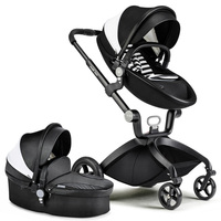 Hk Free delivery! baby strollers hot mom 3 in 1 baby carriage leather hood Pram strollers bassinet sleeping basket and car seat