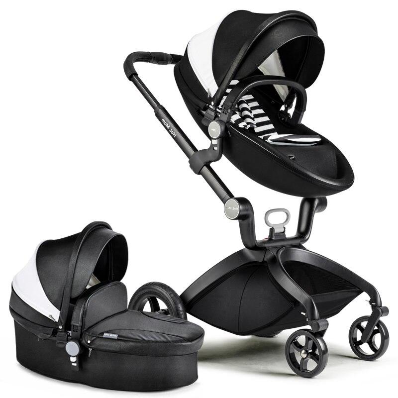 Hk livraison gratuite! Poussettes bébé chaud maman 3 en 1 landau capot en cuir landau poussettes couffin panier de couchage et siège de voiture
