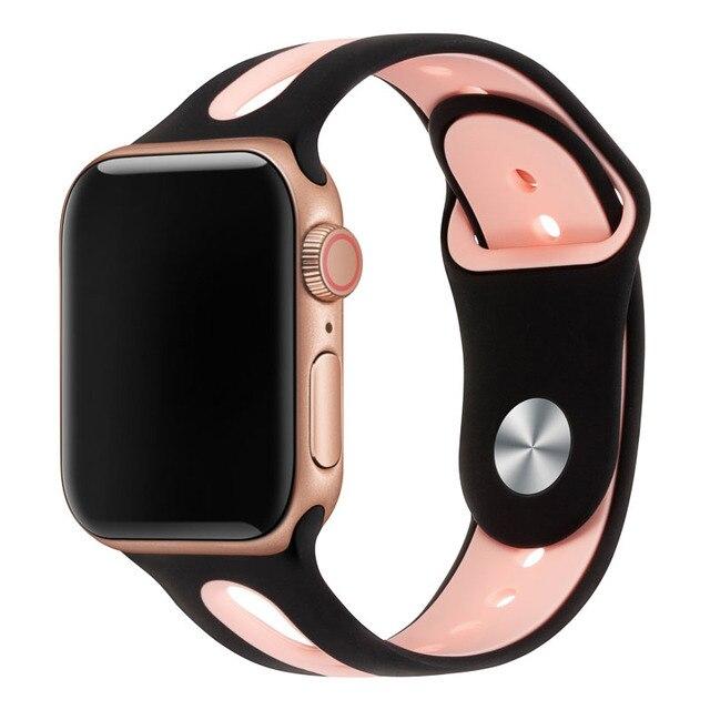 Часы ремешок для Apple Watch группа 42 мм 38 мм 44 мм 40 мм ремешок силиконовые ремешки для часов iwatch для Apple Watch Series4/3/81003