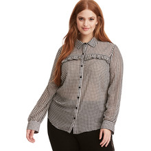97d54365a5 Black and white mini plaid balloon sleeve plus size shirts for women ladies  vintage ruffle decoration button up oversize blouses