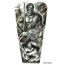 Large Body Art Arm Sleeves Temporary Tattoo Sticker Man Holding A Sword Lower Arm Art Tattoo Male Half Totem Fake Tatoo For Men