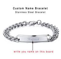 Free Shipping Customize Name Bracelet Personalized Initial Monogram Bracelet Men Bracelets Laser Carving Bracelet