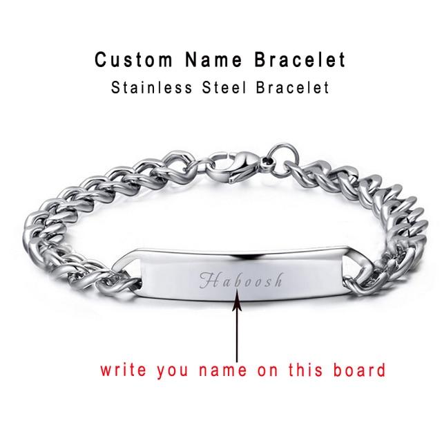 Custom Personalized Bracelet Name Engraved Cowboy Bracelets Men Customized Words Women Jewelry Provide Engrave Gift Box