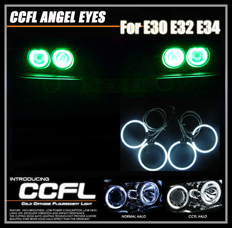 One Set CCFL Car Lights For Bmw E30 E32 E34 3 Series Headlight CCFL Angel Eyes Halo Rings Kits With 4PCs CCFL Angel Rings Kits for uaz patriot ccfl angel eyes rings kit non projector halo rings car eyes free shipping
