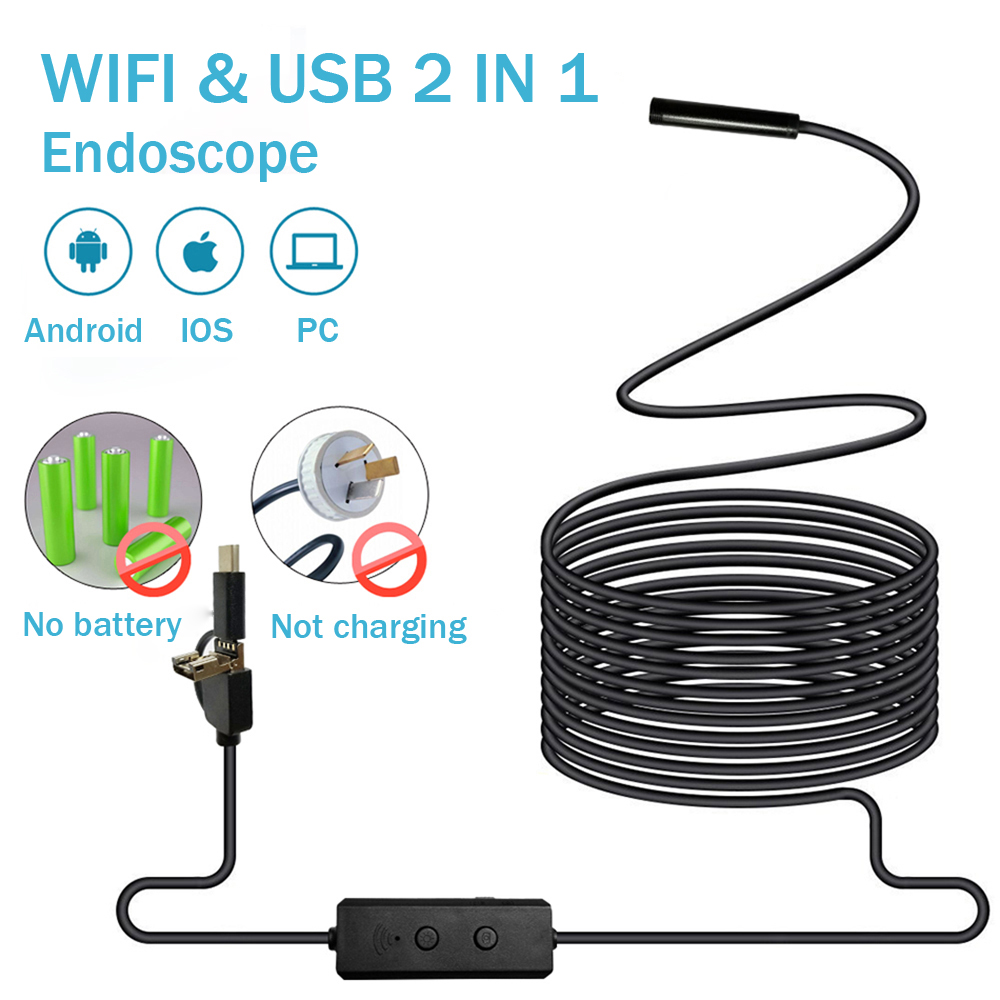 Endoscope Camera No Battery wifi and usb with Android IOS Endoscopio 720P Inspection Borescope Tube Camera 8 LED 8mm