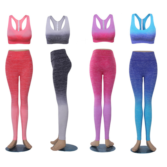 2016 Women's Yoga Set Padded Mid impact Sports Bra And Elastic Workout Leggings Pants 2 Pieces Set