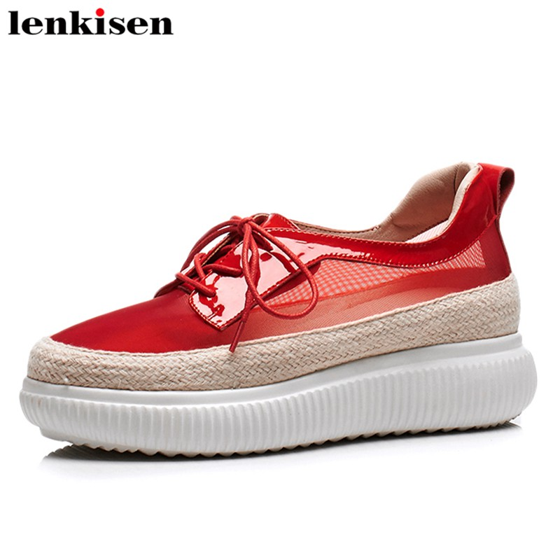 Lenkisen high street fashion cow leather solid mesh round toe high thick bottom sport trip meeting