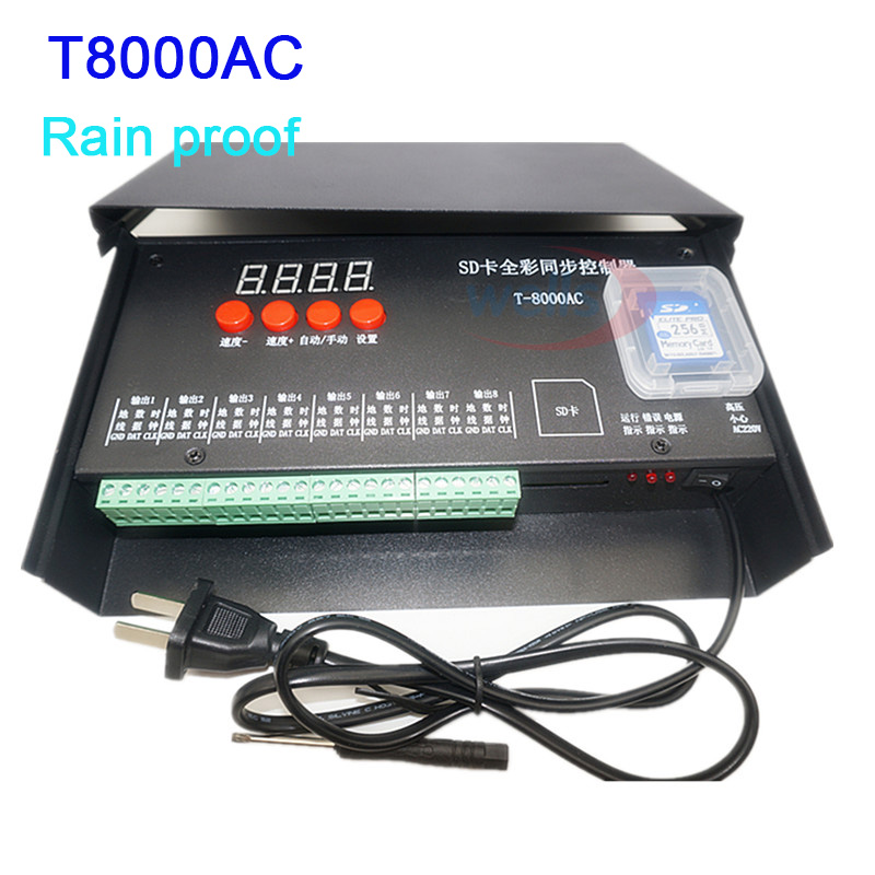 цена на AC110V-240V T8000 SD Card LED Full color Controller for WS2801 WS2811 LPD8806 APA102 8192 Pixels DC5V waterproof controller