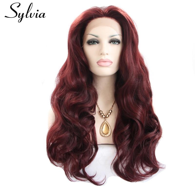 Sylvia 99J kolor ciała fala syntetyczna koronka przodu peruki Burgundy naturalny wygląd żele ciepła odporne na ciepło włosy z środkowym rozstaniem
