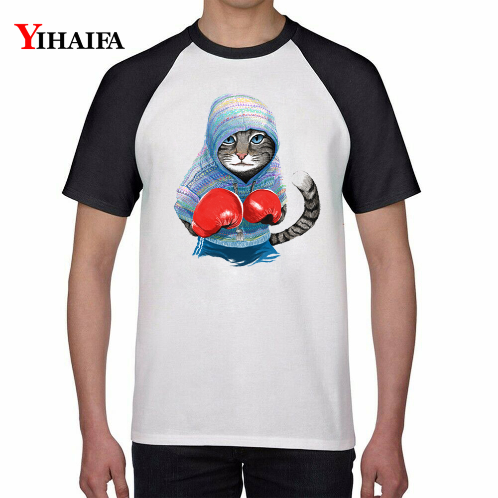 Men Women Fashion T Shirts Funny Boxing Cat 3D Print Animal Graphic Tees Casual Cotton Tee Tops Unisex Short Sleeve Top in T Shirts from Men 39 s Clothing