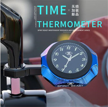 цена на SPIRIT BEAST Thermometer Motorbike Car Watch Motorcycle Accessories Luminous Waterproof Clock Motocross Personality