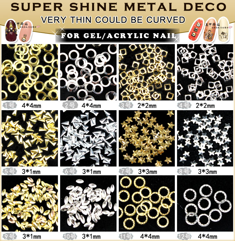 150pcs/lot Nail Art Metal Studs DIY Hollow Square Round Triangle Decoration Gold Silver 3D Sticker
