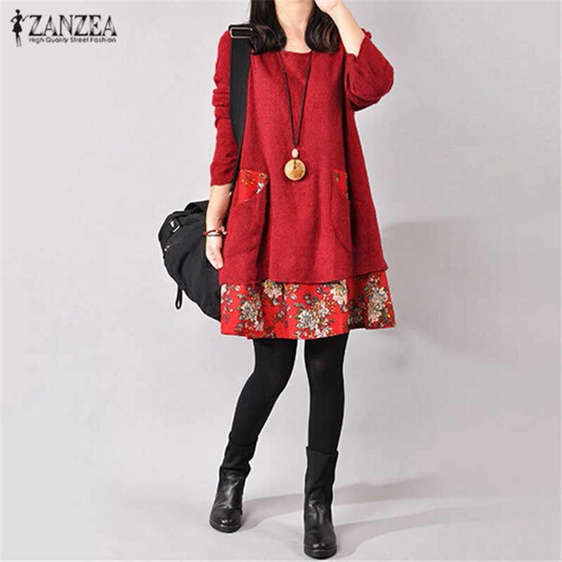 ZANZEA Winter Jurk Vrouwen Vintage Bloemenprint Jurken 2019 Herfst Pockets Lange Mouwen Loose Casual Party Mini Vestido Plus Size