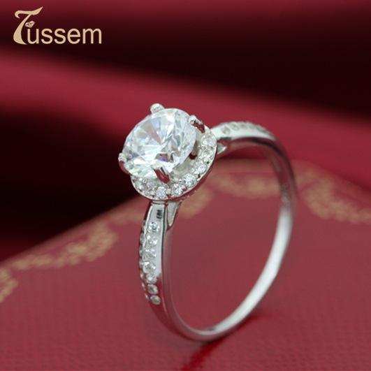 FUSSEM Hot Promotions S925 Sterling Silver Ring. Super Shine 8 Heart Arrow 6mm Two Carat Ring 2014 Jewelry Woman Accessories - Fussem Fine Shop For store